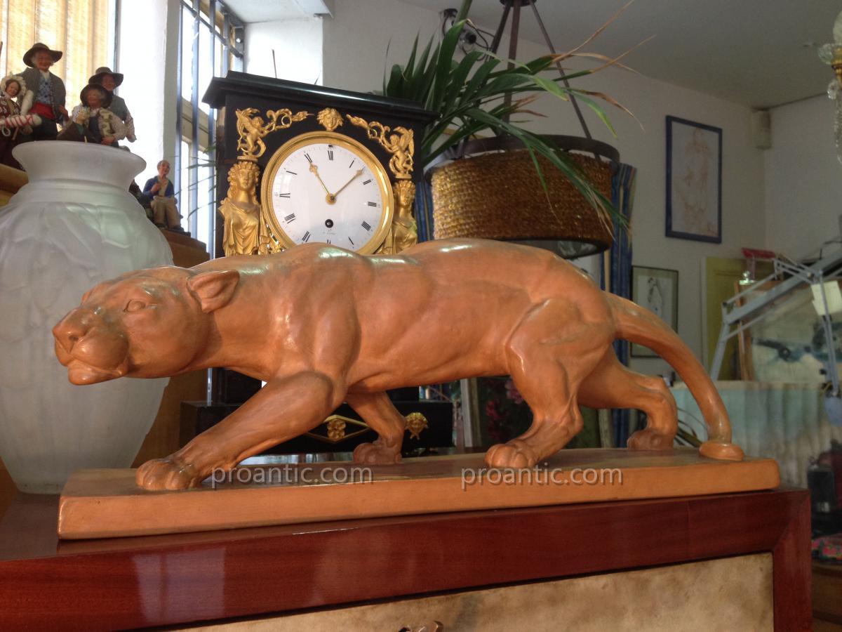 Sculpture d'Une Panthère à l'Affut En Terre Cuite