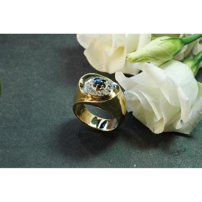 Bague En Or Jaune Saphir Et Diamants Taille Ancienne