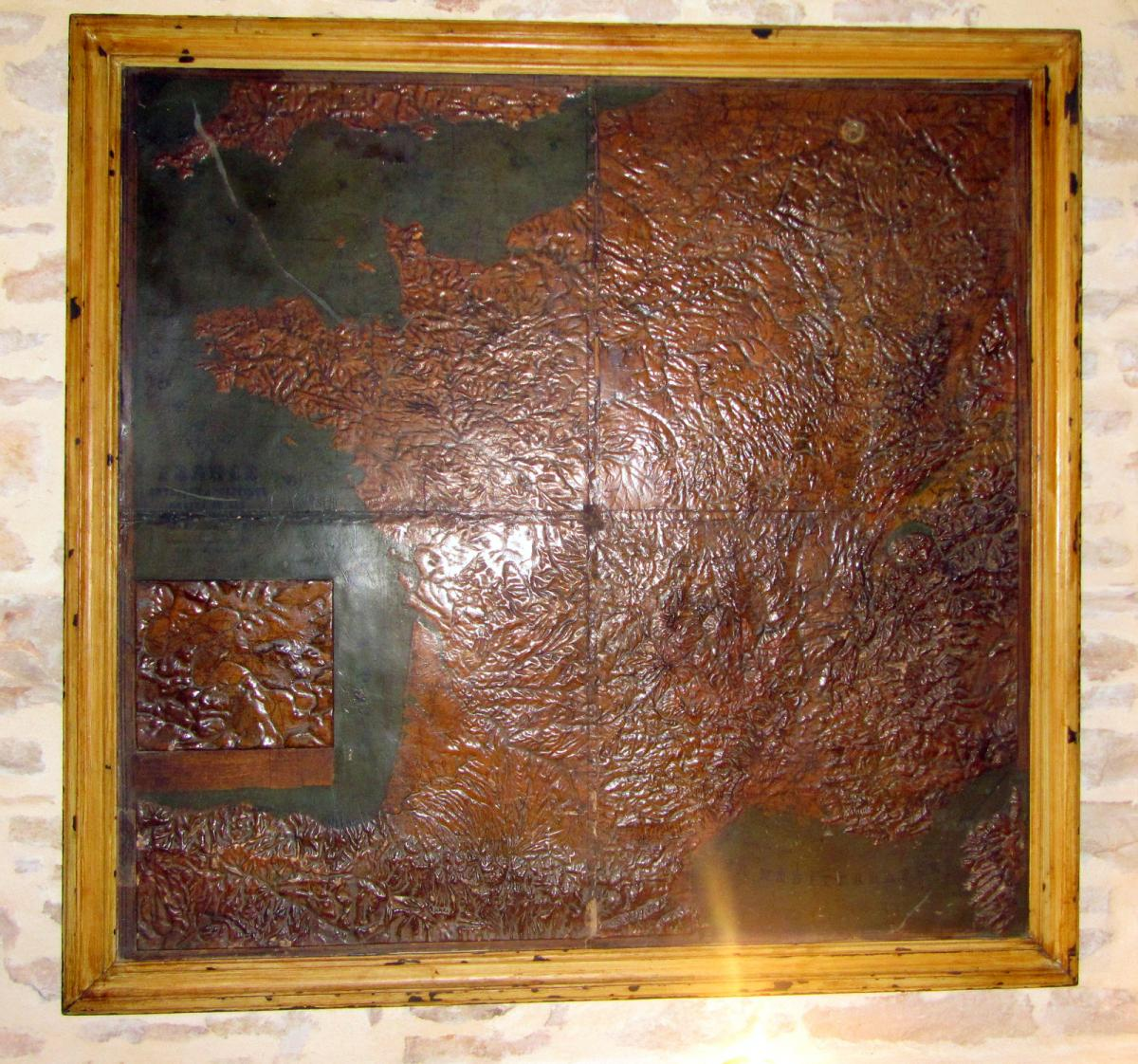 Map Of France, From A Prefecture. Before 1914. Carton Boulli And Painted.