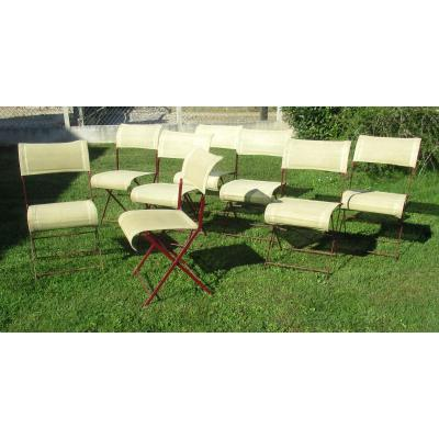 Set Of 8 Garden Chairs, Vintage. Fermob Years 70-80