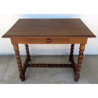 Table Bureau De Style Louis XIII, à Double-torse, En Noyer