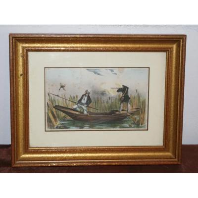 Pretty Color Engraving Duck Hunters At The Pond