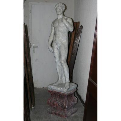 Belle Statue En Pierre  Reconstituée Du David De Michel-ange XXe Siécle