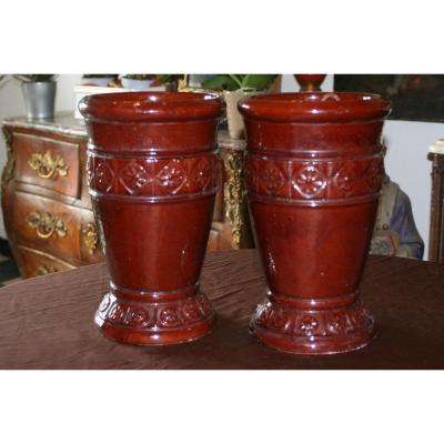 Grande Paire De Vases En Terre Cuite Vernissée Décor Floral
