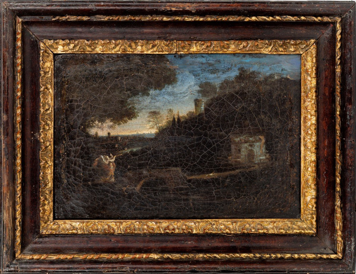 Pair Of Roman Landscapes (17th Century Paintings)-photo-2