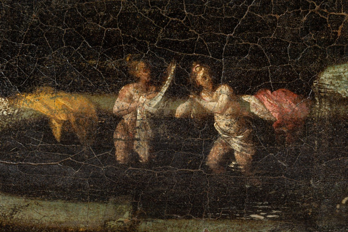 Pair Of Roman Landscapes (17th Century Paintings)-photo-3