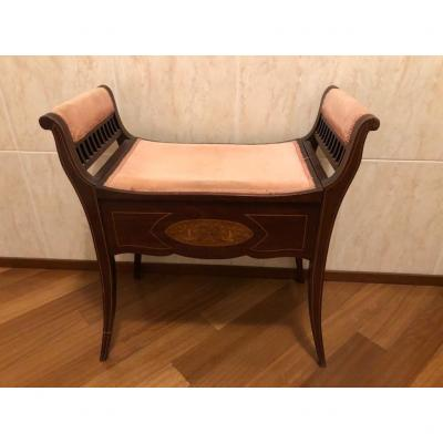 Ancient Small Bench With Storage Compartment