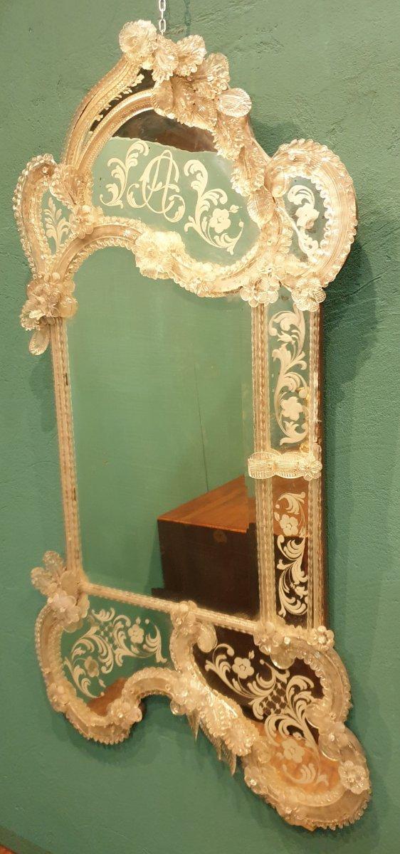 Miroir vénitien de verre de la deuxième moitié du XIXe siècle-photo-1