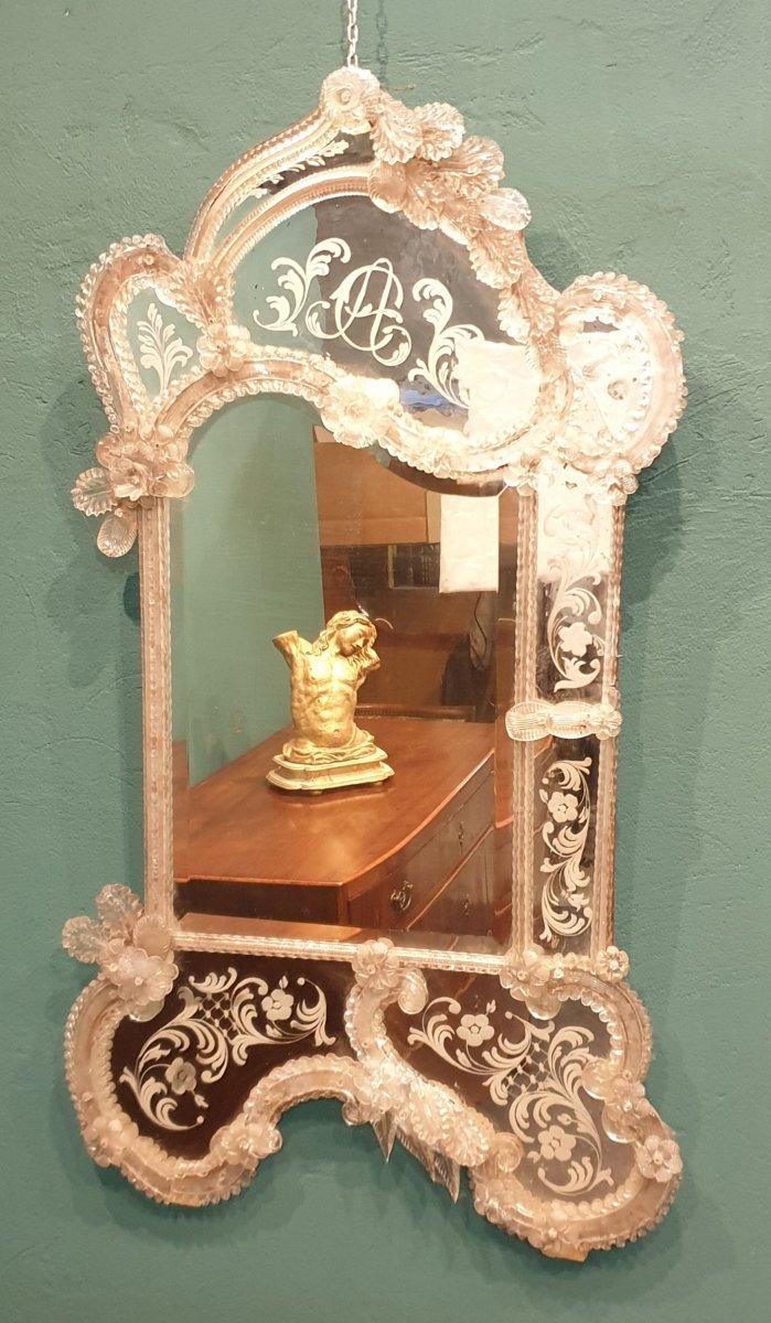 Miroir vénitien de verre de la deuxième moitié du XIXe siècle-photo-3