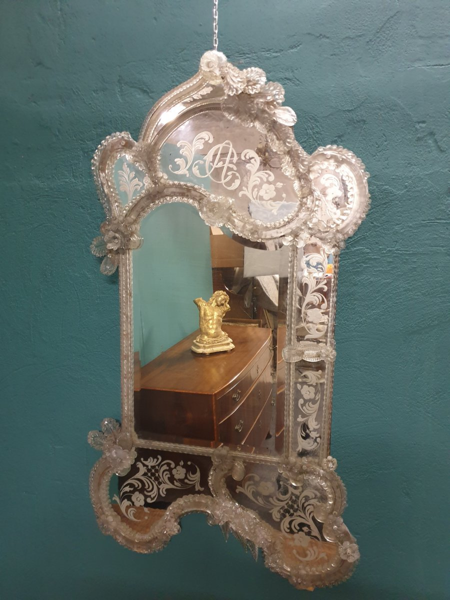 Miroir vénitien de verre de la deuxième moitié du XIXe siècle