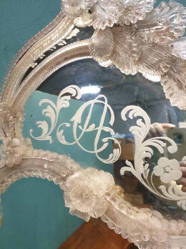 Miroir vénitien de verre de la deuxième moitié du XIXe siècle-photo-2