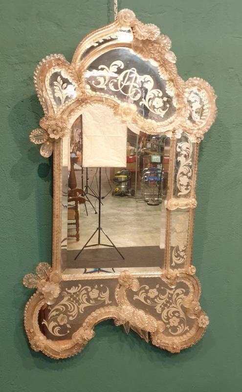 Miroir vénitien de verre de la deuxième moitié du XIXe siècle-photo-4
