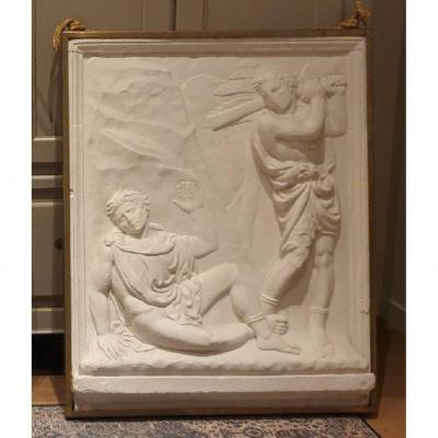 Superb High Relief In Plaster Art Deco 1930 Cain And Abel -france