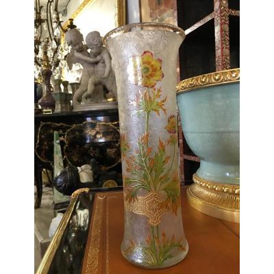 Vase Baccarat Art Nouveau 1900 Décor Floral