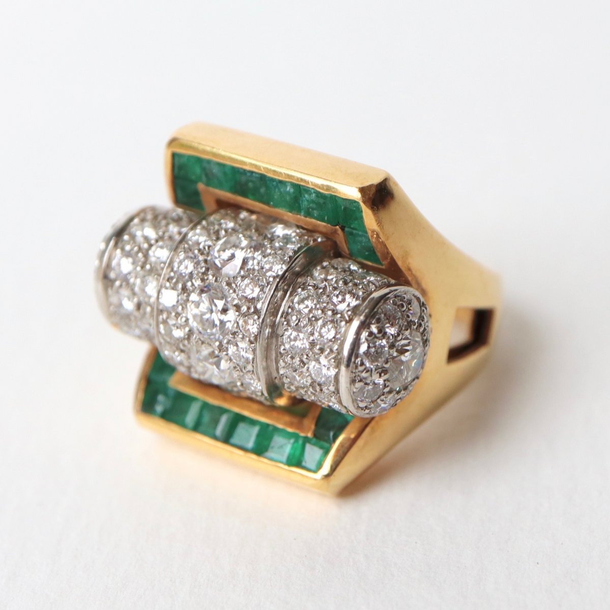 Ring 1940 Platinum Roll And Yellow Gold 18 Kt Emerald Diamonds