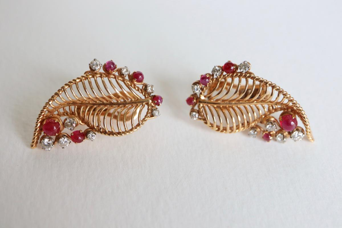 Earrings Vintage Gold 18 Kt Rubies And Diamonds