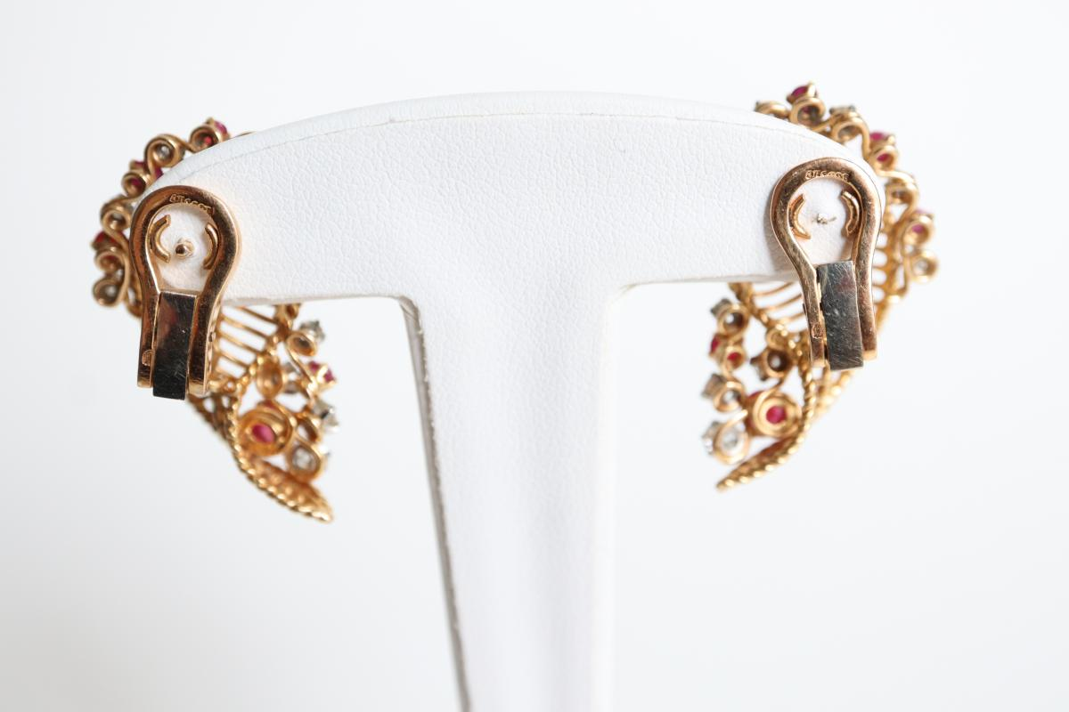 Earrings Vintage Gold 18 Kt Rubies And Diamonds-photo-2