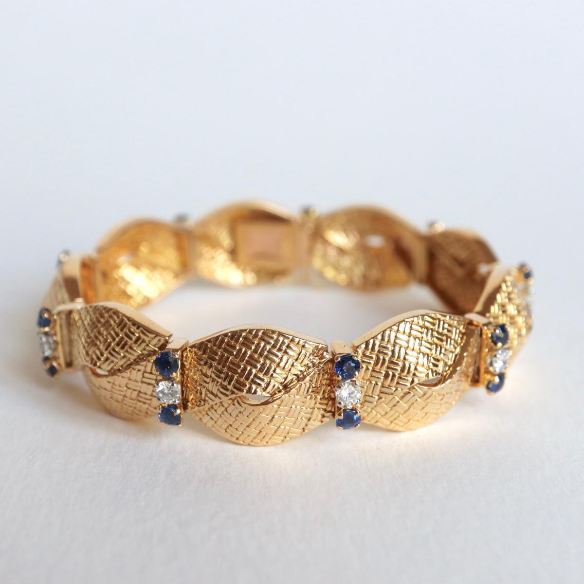 BOUCHERON Bracelet Or Jaune Saphirs Et Diamants