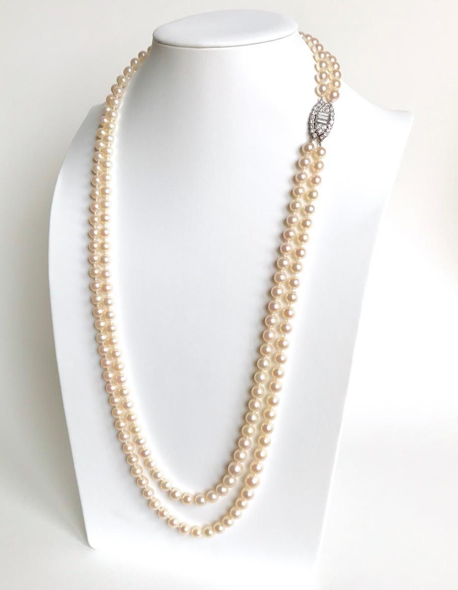 VAN CLEEF AND ARPELS Collier Sautoir Perles 2 Rangs