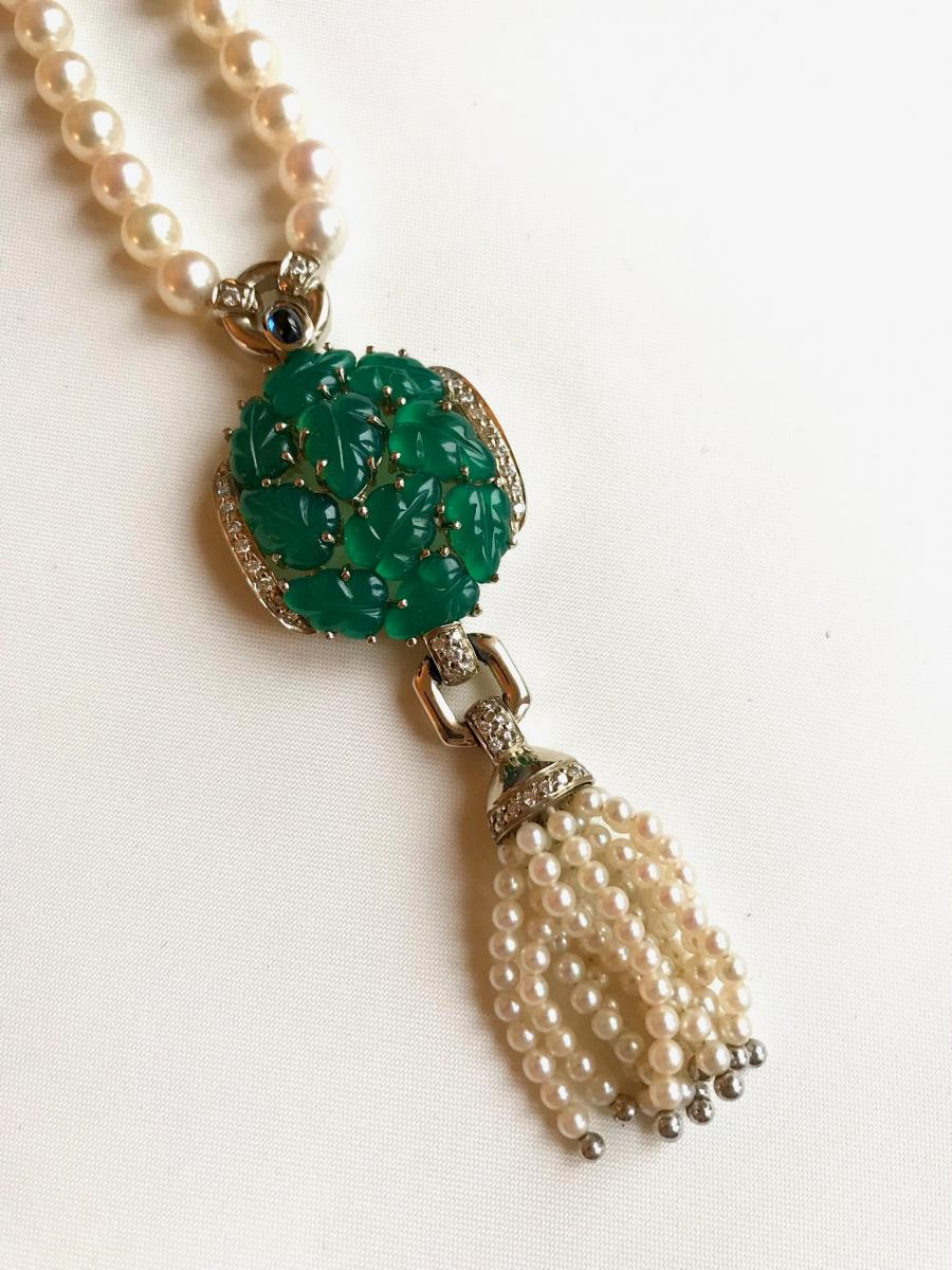 Cartier Necklace Beads And Chrysophrases Of 1990