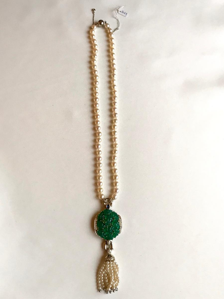 Cartier Necklace Beads And Chrysophrases Of 1990-photo-2