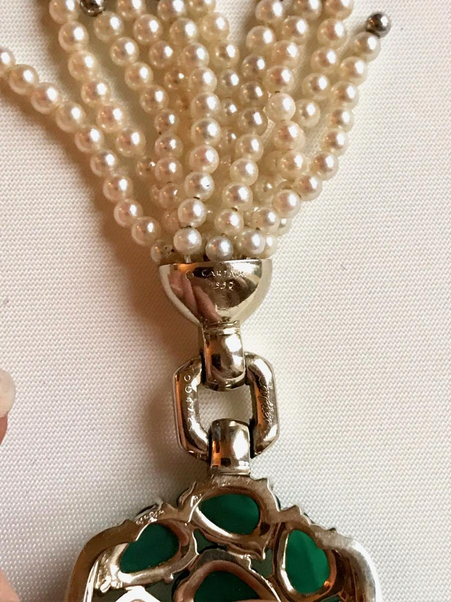 Cartier Necklace Beads And Chrysophrases Of 1990-photo-4