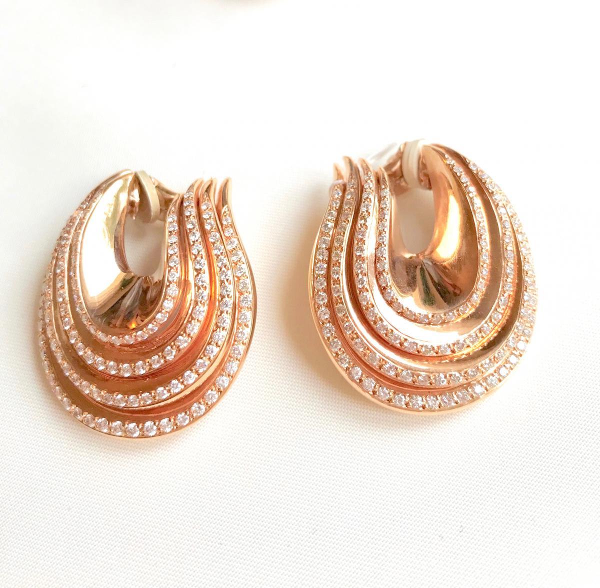 De Grisogono Set, Pink Gold And Diamonds, Shape 4 Twisted Rings-photo-2
