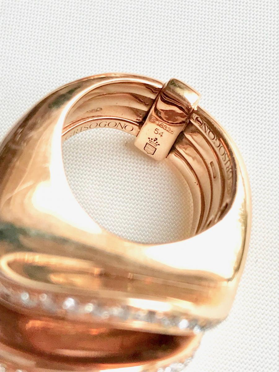 De Grisogono Set, Pink Gold And Diamonds, Shape 4 Twisted Rings-photo-1