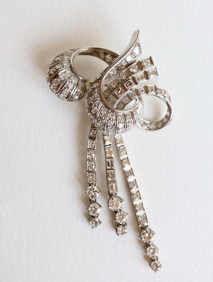 Brooch Knot Towards 1940-1950 18k White Gold And Diamonds-photo-2