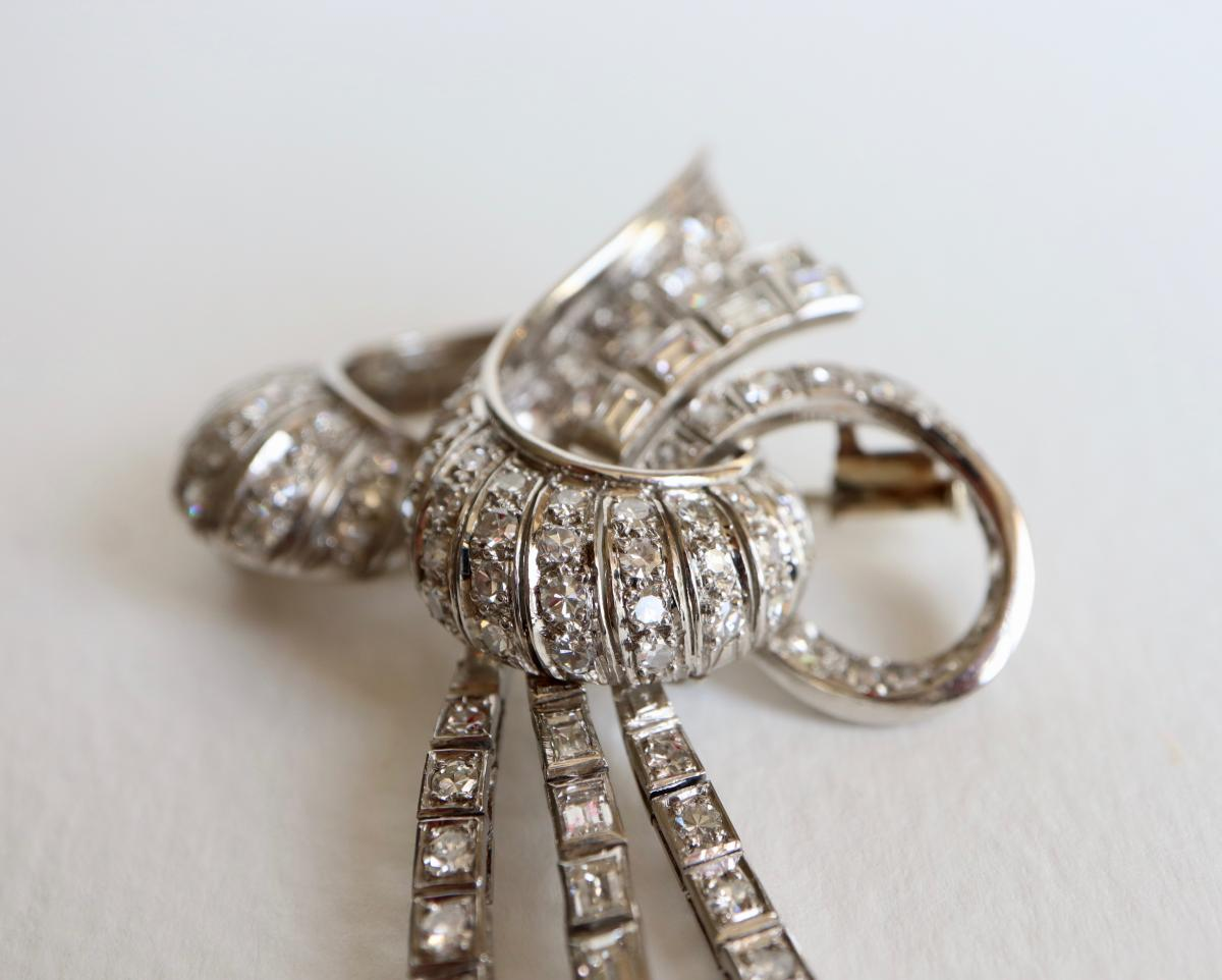 Brooch Knot Towards 1940-1950 18k White Gold And Diamonds-photo-3