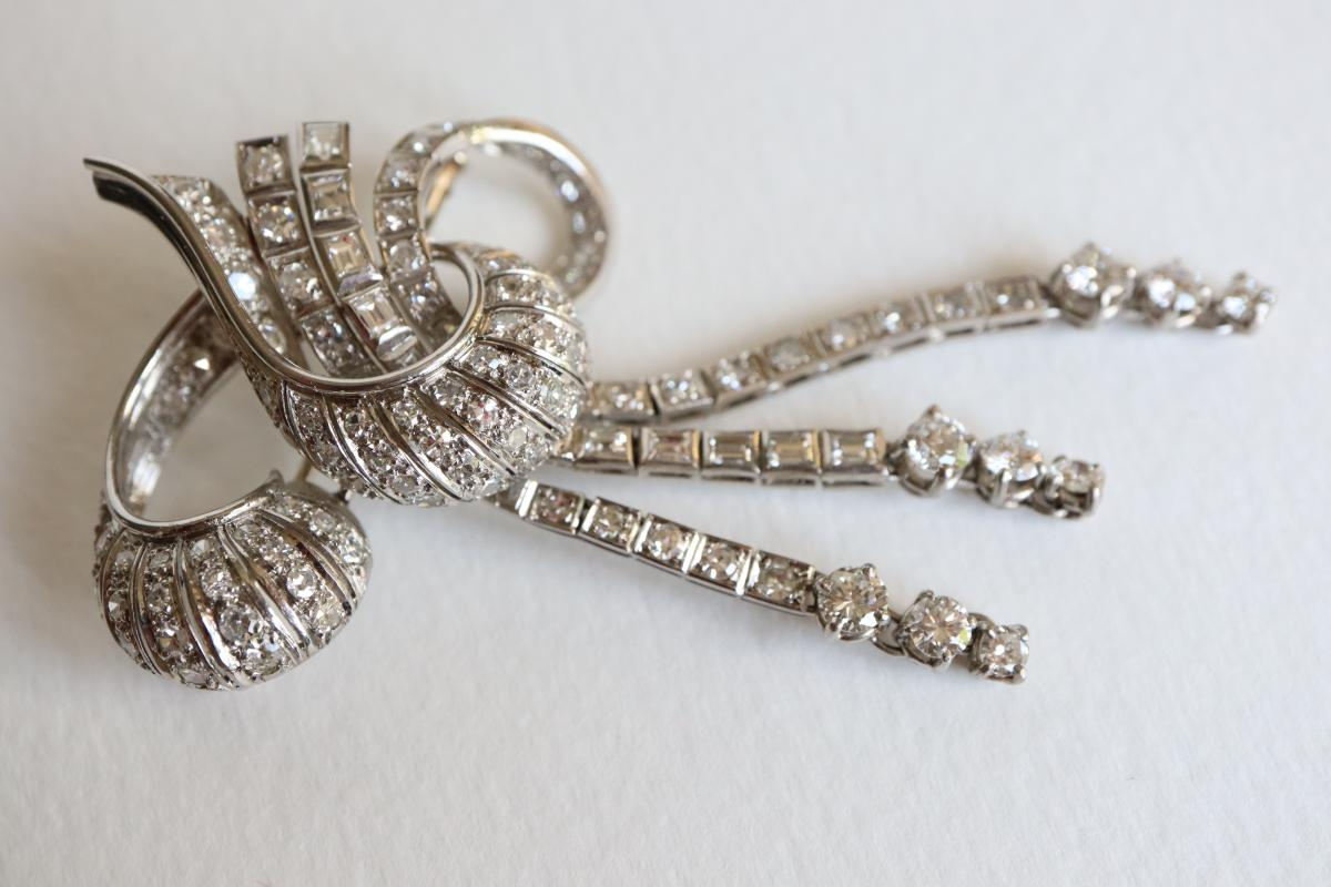 Brooch Knot Towards 1940-1950 18k White Gold And Diamonds-photo-1
