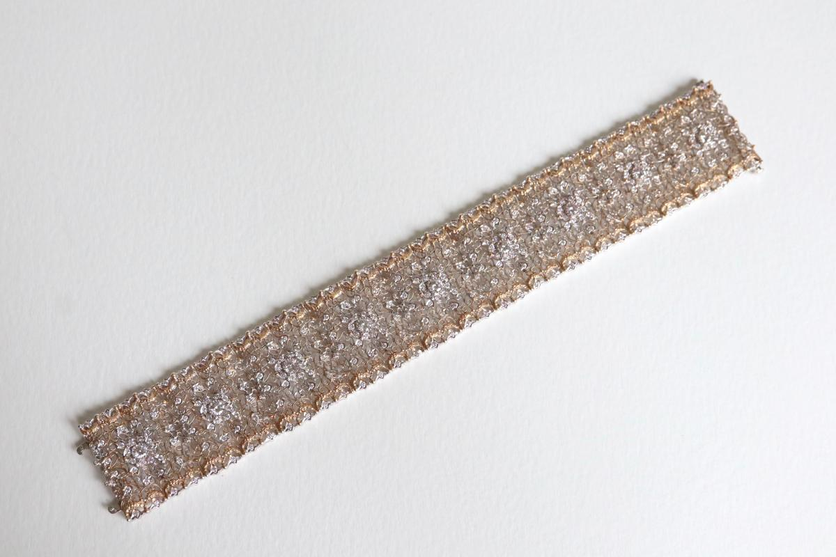 Beautiful Fishnet Bracelet Yellow Gold And White Gold 18 Kt Inlaid With Diamonds