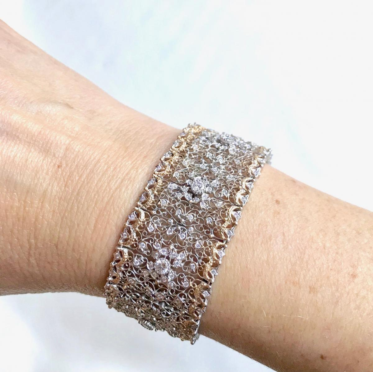 Beautiful Fishnet Bracelet Yellow Gold And White Gold 18 Kt Inlaid With Diamonds-photo-1
