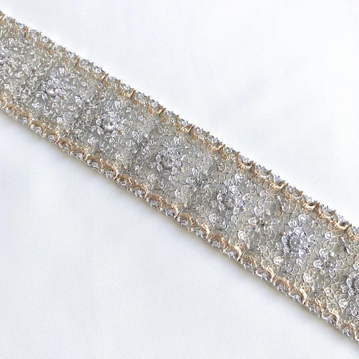 Beautiful Fishnet Bracelet Yellow Gold And White Gold 18 Kt Inlaid With Diamonds-photo-2