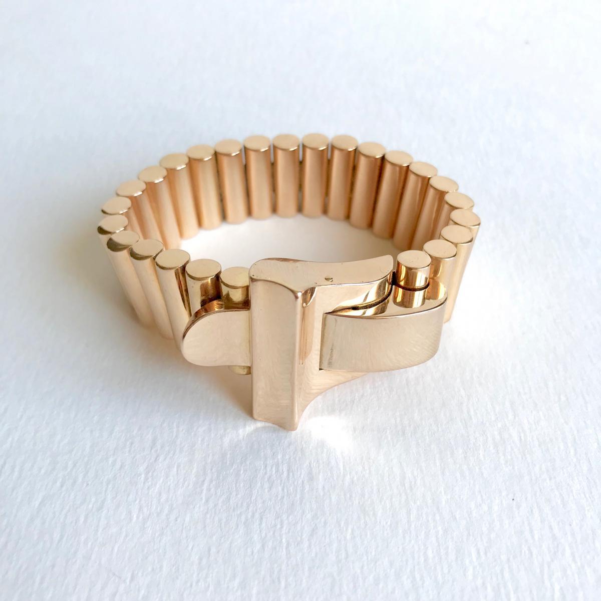 Bracelet D'époque 1940 En Or Jaune 18 Kt Maille Cylindrique
