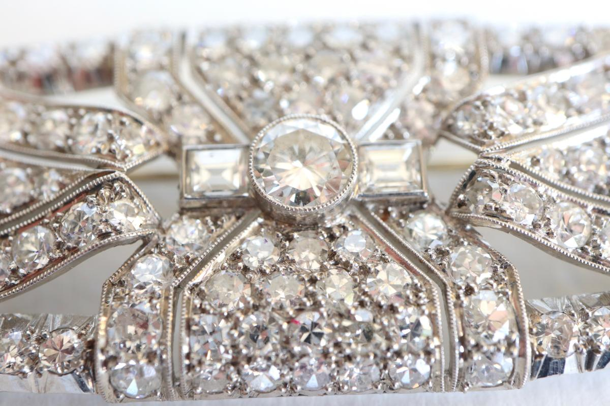 Brooch Art Deco Plate In Platinum And White Gold 18 Carats 1930-40-photo-2