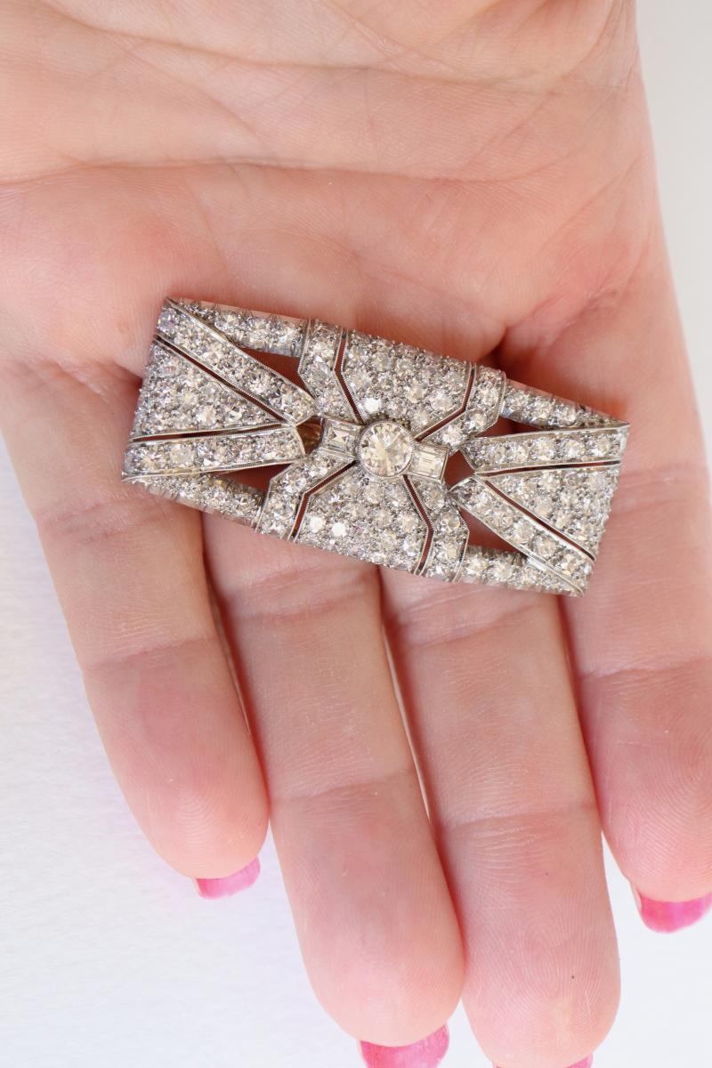 Brooch Art Deco Plate In Platinum And White Gold 18 Carats 1930-40-photo-3
