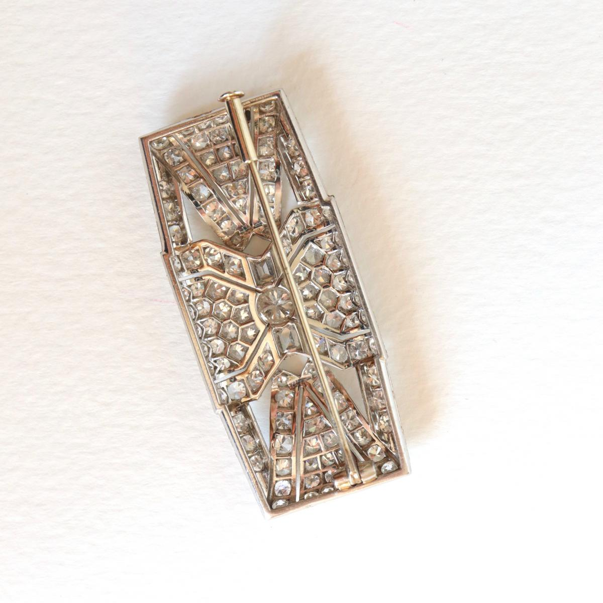 Brooch Art Deco Plate In Platinum And White Gold 18 Carats 1930-40-photo-4