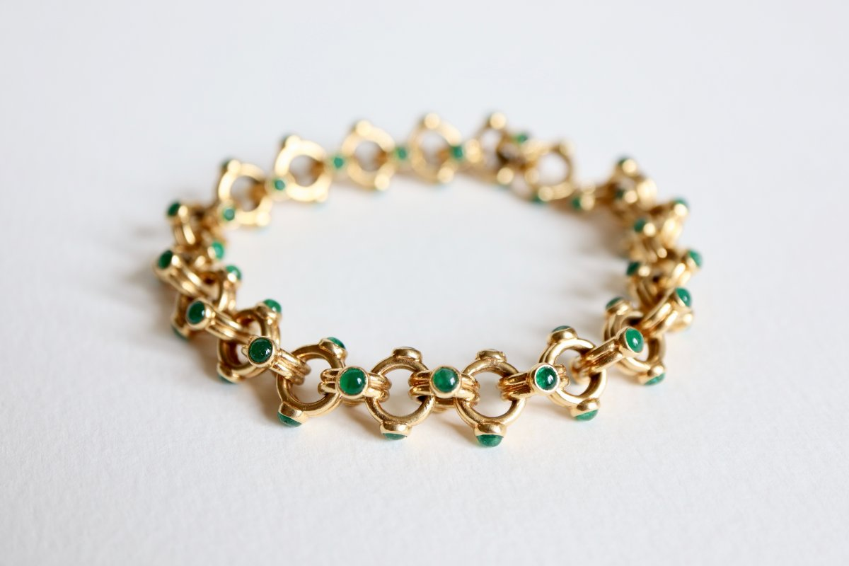 Verney Poiray Bracelet In 18k Yellow Gold And Emeralds