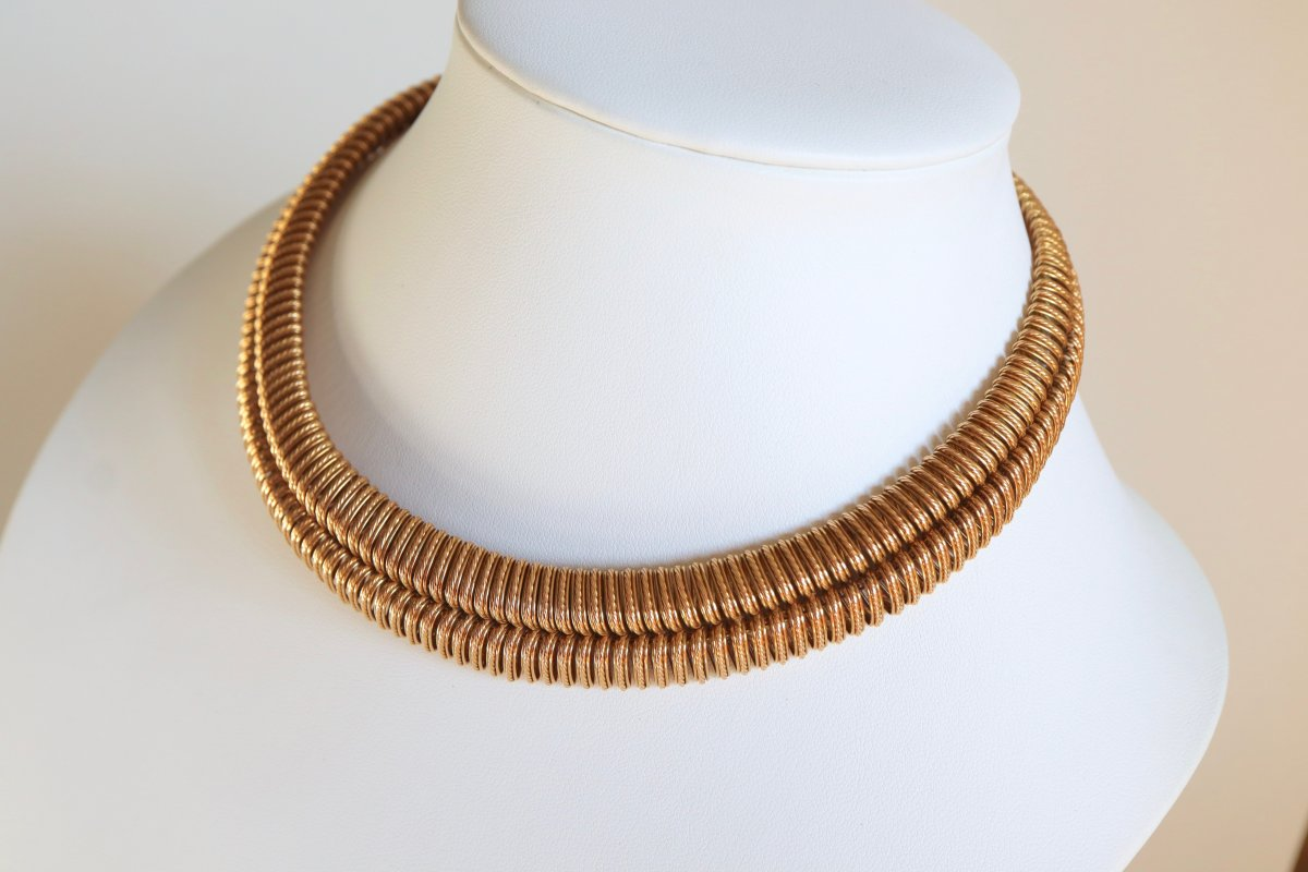 Marchak Choker Necklace In 18k Yellow Gold Double Mesh Twisted Twist