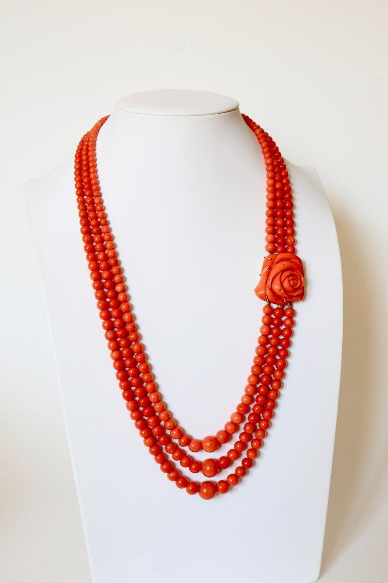 Mediterranean Coral 3 Row Necklace