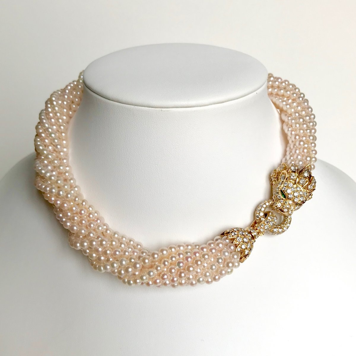 Van Cleef & Arpels Collier Barquerolles 11 Rangs Perles Fermoir Diamants