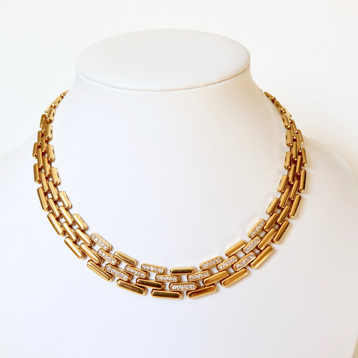 Fred Articulated Mesh Tank Necklace (panther) In 18k Yellow Gold And Diamonds