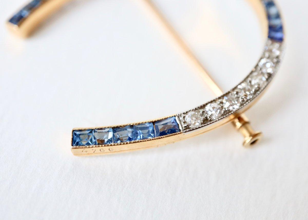 Broche Fer à Cheval Vers 1920 En Or Jaune 18 Kt  Saphirs Et Diamants-photo-2