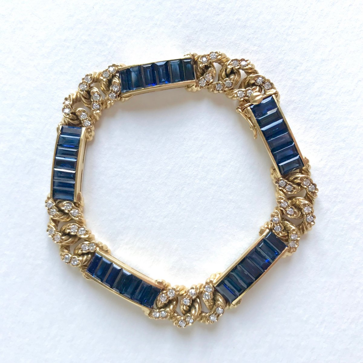 Fred Paris Bracelet In 18 Kt Yellow Gold, Sapphires And Diamonds