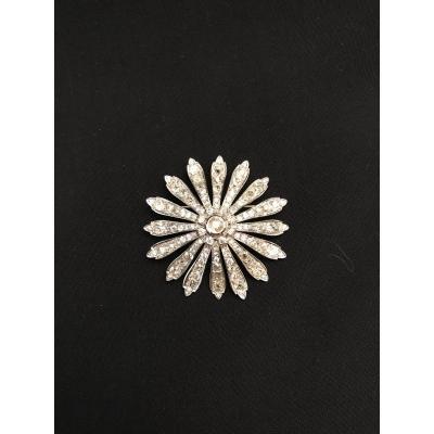 Broche Marguerite En Or 18 Kt Et Diamants Vers 1900
