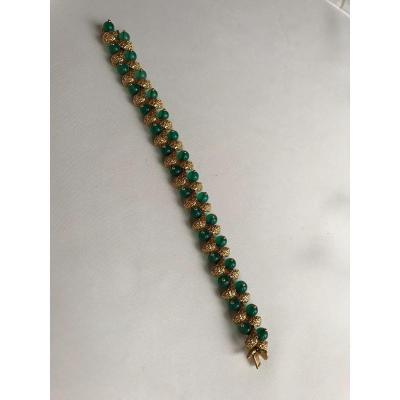 Bracelet Van Cleef And Arpels Or Jaune Et Chrysoprases