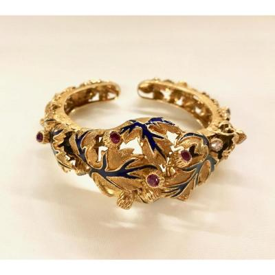 Zolotas Bracelet Yellow Gold Chiselled Underlined Enamel Blue Pattern Foliage