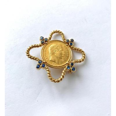 Napoleon Brooch Around 1950-1960 In Yellow Gold 18 Kt And Sapphires