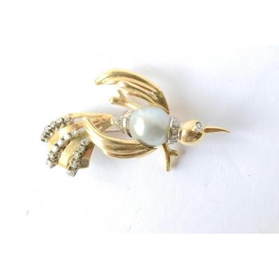 Broche Ancienne Colibri Vers 1960 En Or Jaune 18 Kt, Or Blanc, Perle Grise Et Diamants